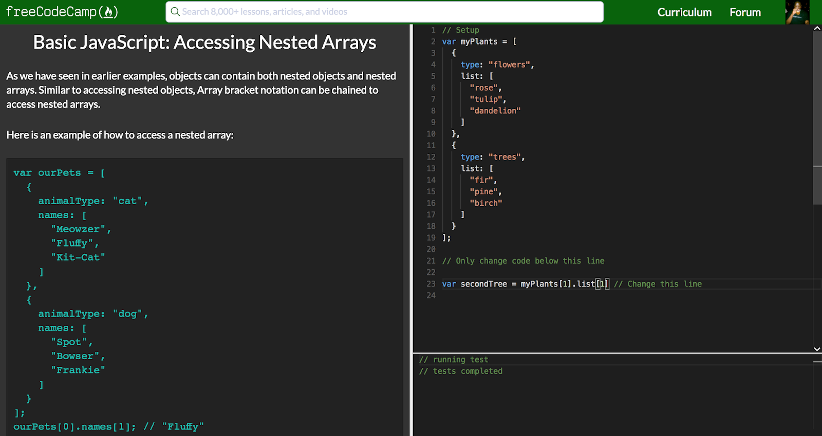 Just a Few Things  : Accessing Nested Arrays
