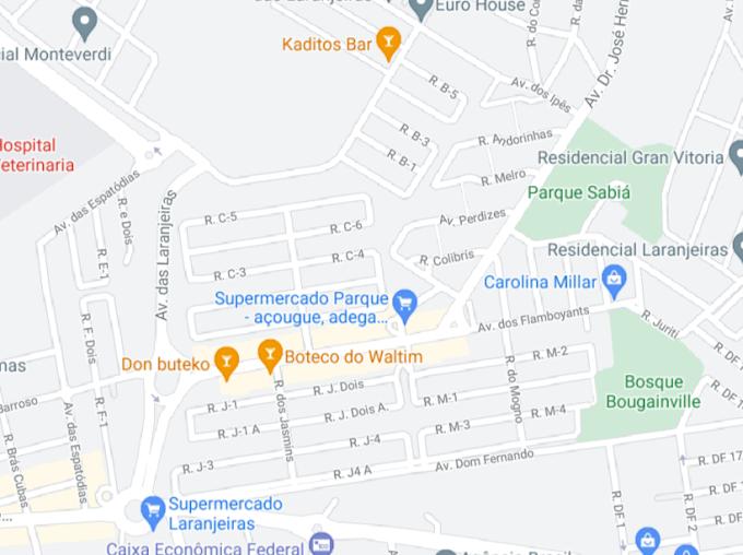 Parque das Laranjeiras sem traçado no Google Maps