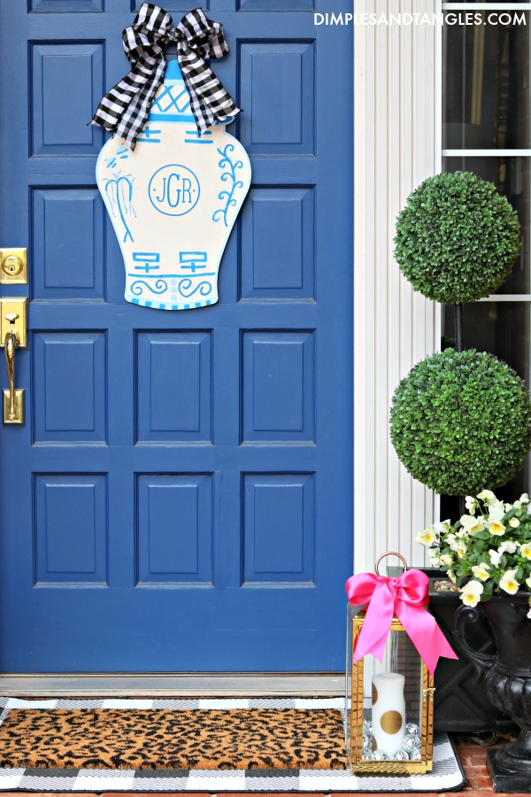 Spring Front Porch decorating ideas, sherwin williams dignity blue door