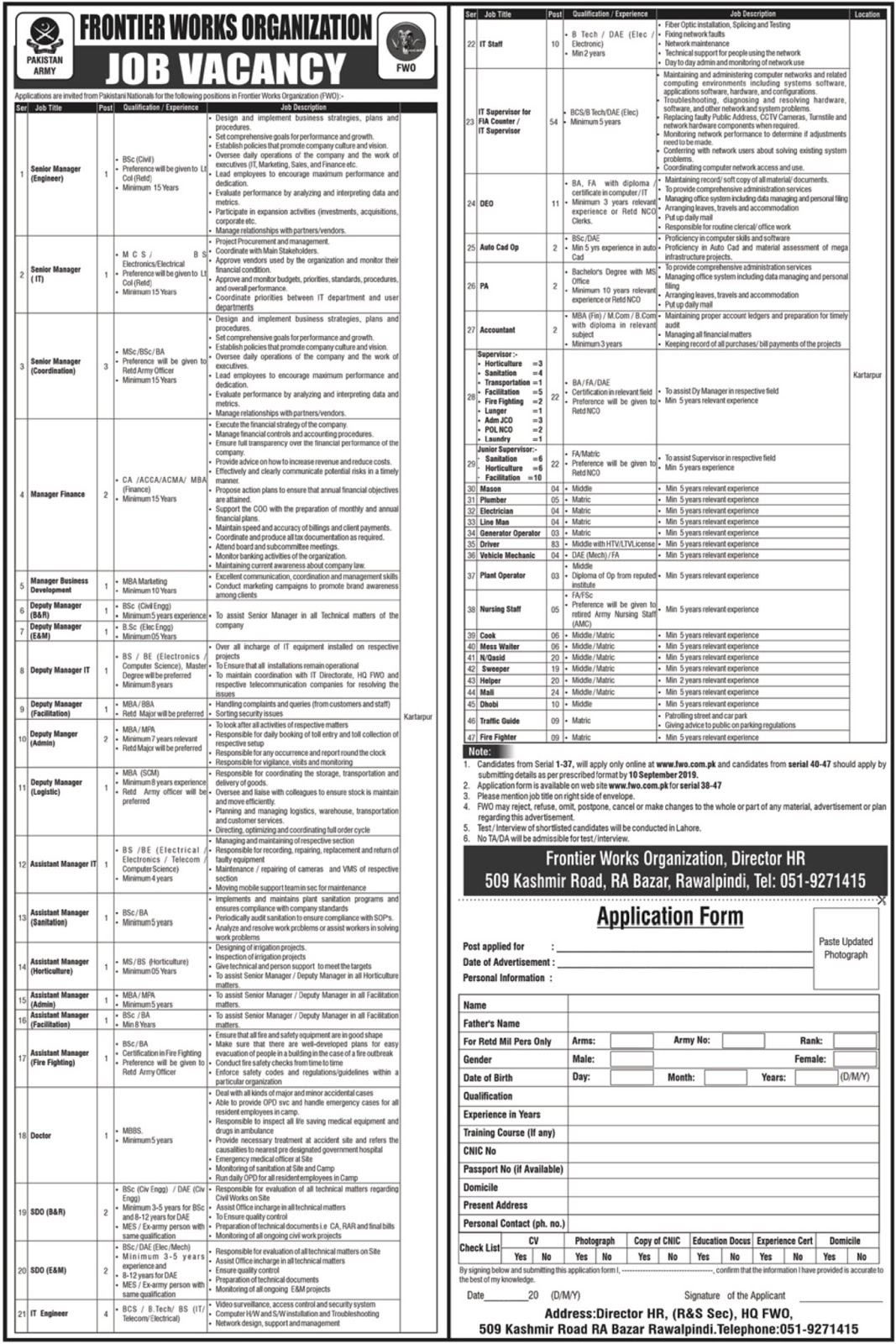 Frontier Works Organization FWO is inviting applications from eligible candidates for the posts of Manager. The Advertisement is published in Express on Sunday 01 September 2019. Last Date to apply for jobs is Tuesday 10 September 2019.