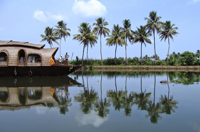House boat in Alappey back waters in Kerala