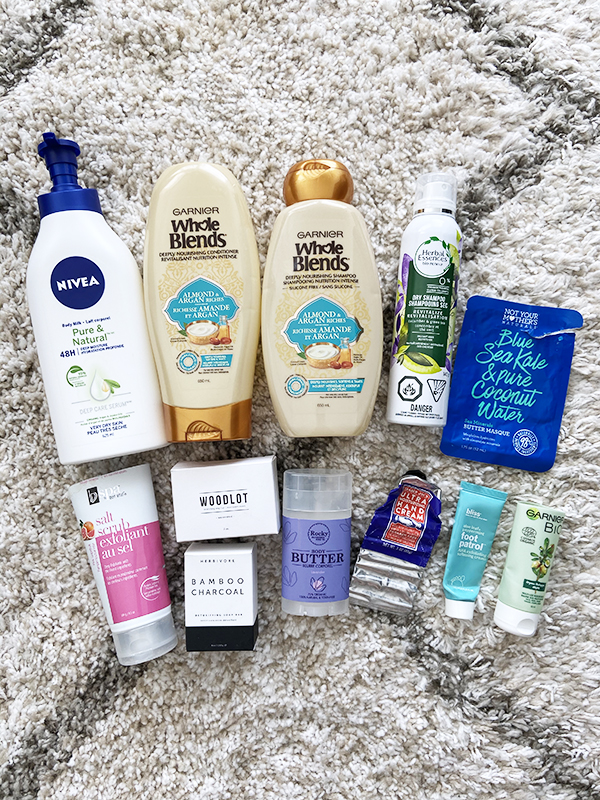 Pictured together: Affordable natural and drugstore body care and haircare by Nivea, Garnier, Herbal Essences, Not Your Mother's Naturals, BVSpa, Woodlot, Herbivore Botanicals, Rocky Mountain Soap Company, Trader Joe's, Bliss.