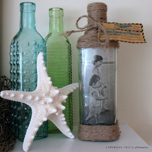Craftiments.com:  Beachy Photo in a Bottle