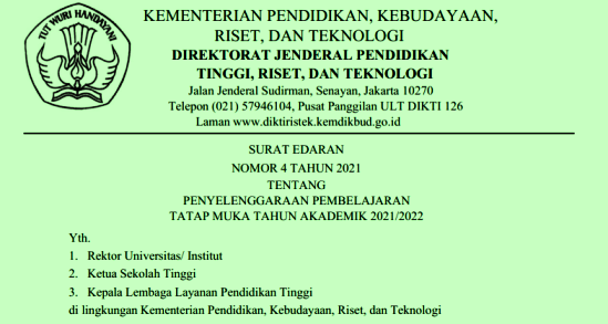 Surat Edaran SE Mendikbudristek Nomor 4 Tahun 2021 Tentang Penyelenggaraan Pembelajaran Tatap Muka Tahun Akademik 2021/2022