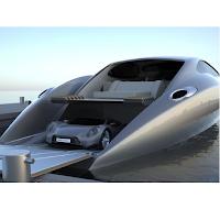 Un bateau futuriste et puissant avec une supercar.