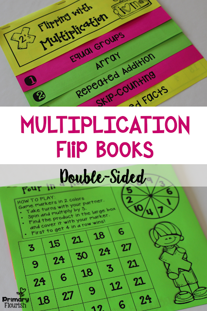 Each flip book includes the 5 multiplication strategies:  • Equal Groups • Arrays • Repeated Addition • Skip-Counting • Related Facts  These multiplication strategies will help students understand and become faster in their recall of the multiplication facts.They can be use in math centers, partner work, morning work, extra activities for early finishers, or homework.