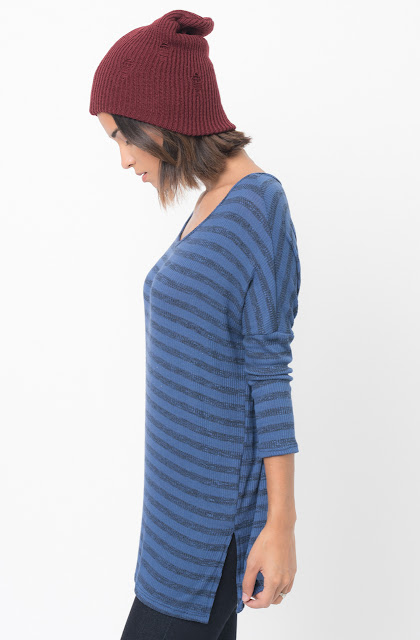 Shop for Navy blue Striped long sleeve pullover crew neck Tunic Online - $38 - on caralase.com