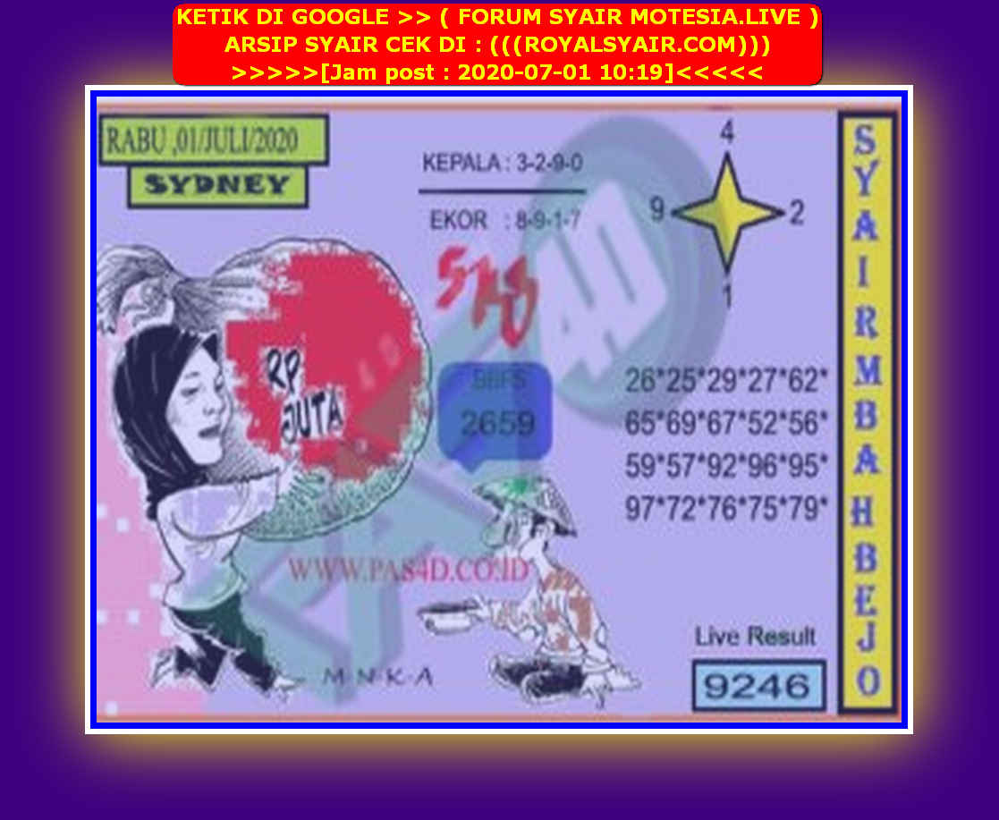 Kode syair Sydney Rabu 1 Juli 2020 157