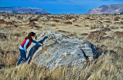 Teresa Foster and Ice Age Floods erratic boulder below Sentinel Gap.