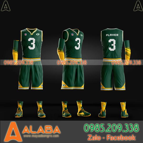 Áo bóng rổ tự thiết kế màu xanh lạ