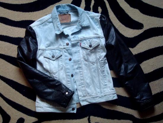 The Slushy Brain Diy Leather Sleeve Denim Jacket