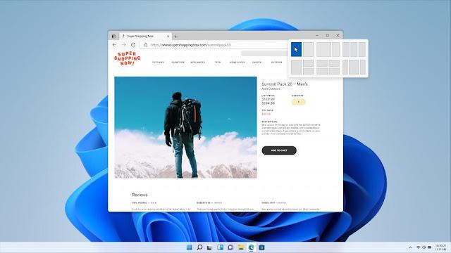 Redesigned Start menu in Windows 11