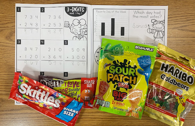 Math Intervention Workbook with Images of Assorted Candy