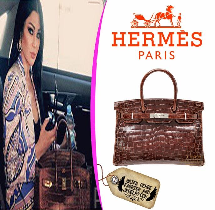 Haifa Wehbe Carrying a Dark Brown Niloticus Crocodile Skin Birkin Bag by  Hermes 5a8cecc84810e