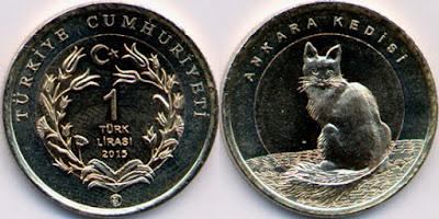 Angora cat coin Turkey 1 Lira