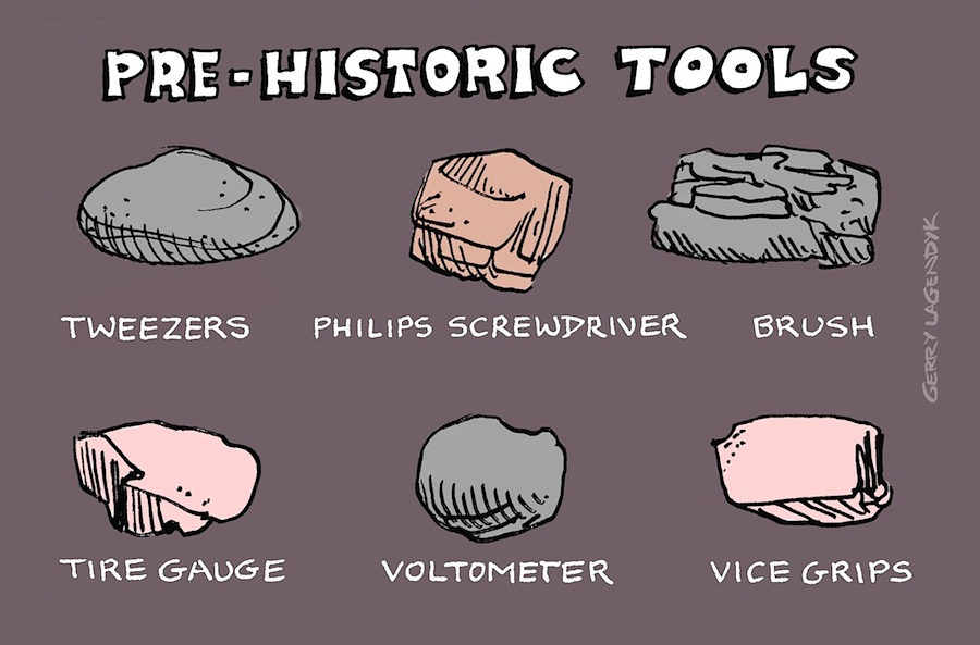 Pre-Historic Tools, caveman cartoon, Gerry Lagendyk
