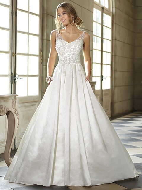 Sweep Train Ivory Satin Beading Open Back Ball Gown Wedding Dresses