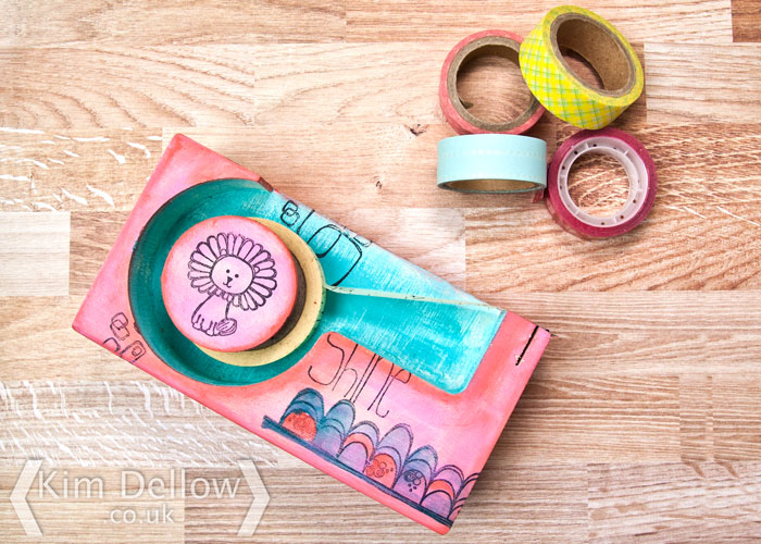 Decorated wooden tape dispenser by Kim Dellow