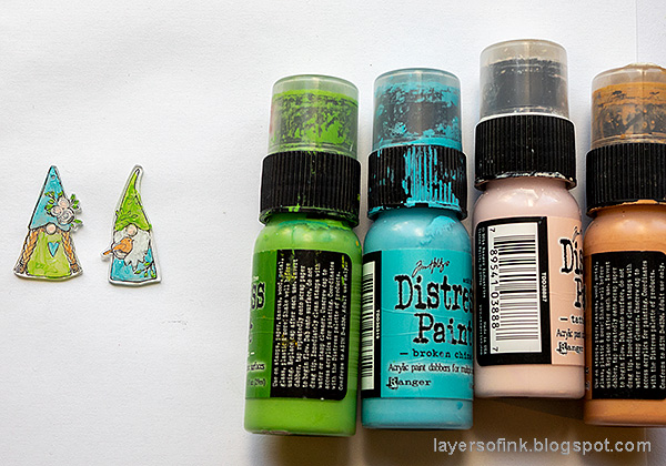 Layers of ink - Magical Gnome Forest Tutorial by Anna-Karin Evaldsson. Paint the gnomes.