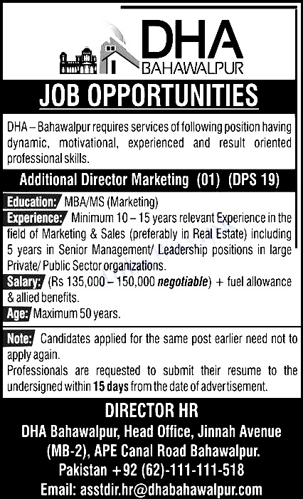 Latest Jobs in Defence Housing Authority DHA BWP  2021