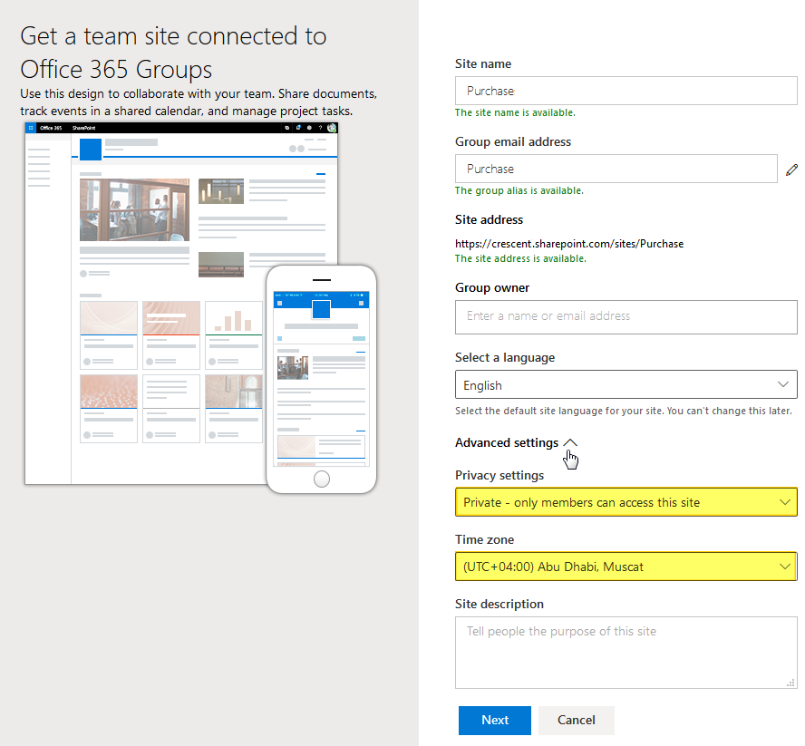 sharepoint online create private site collection