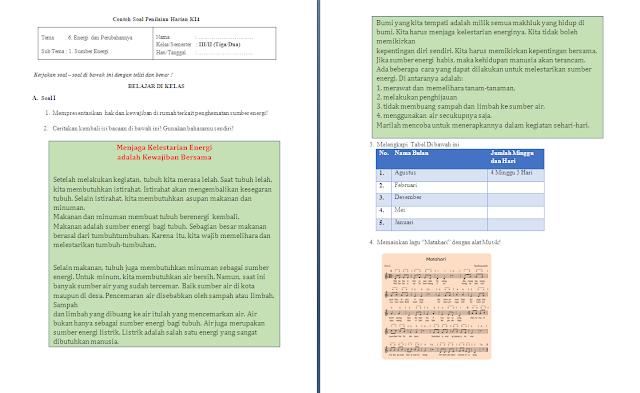 Soal PH Kelas 3 SD/MI: Tema 6