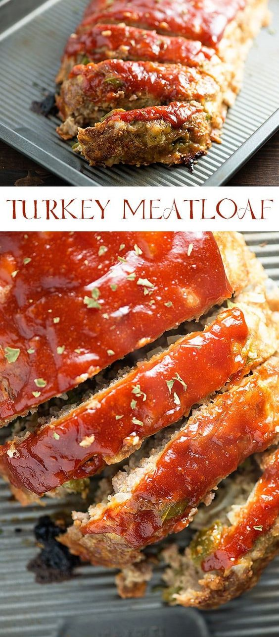 This turkey meatloaf recipe will be a new family favorite - it's so moist and the sauce on top is so good! #meatloaf #turkeymeatloaf #healthy
