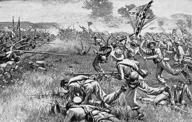 black and white drawing of Pickett's Charge from wpclipart.com