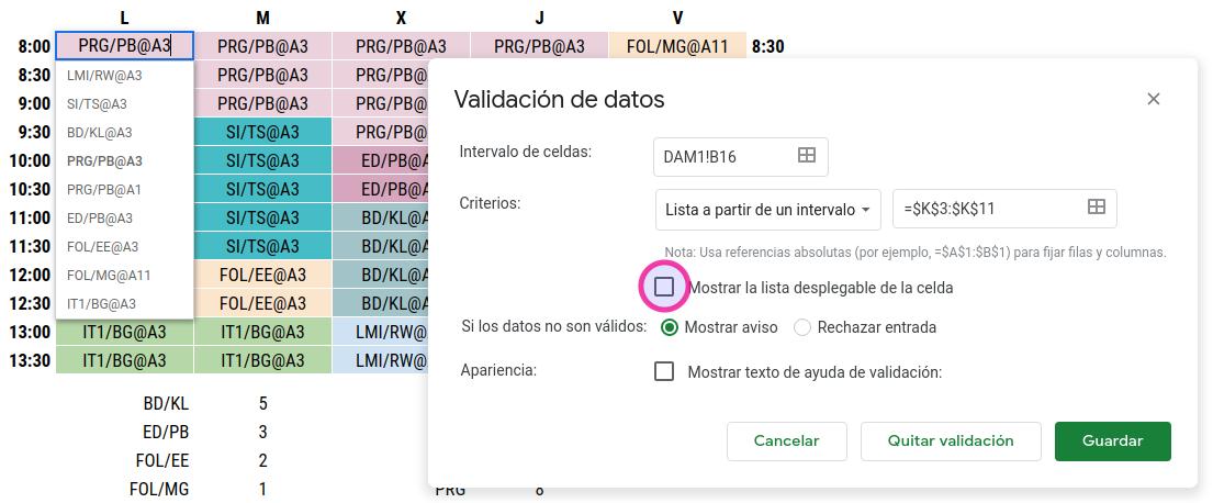 Validación de datos para seleccionar las clases en el horario.