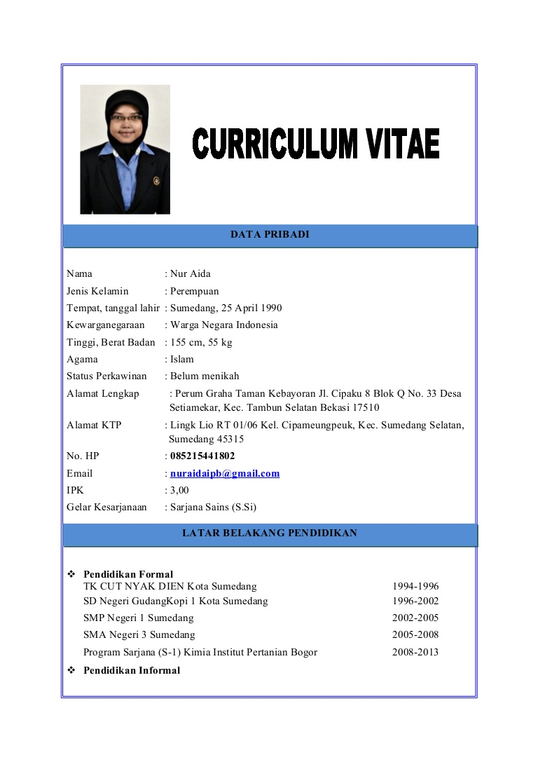 contoh curriculum vitae lamaran kerja dalam bahasa inggris