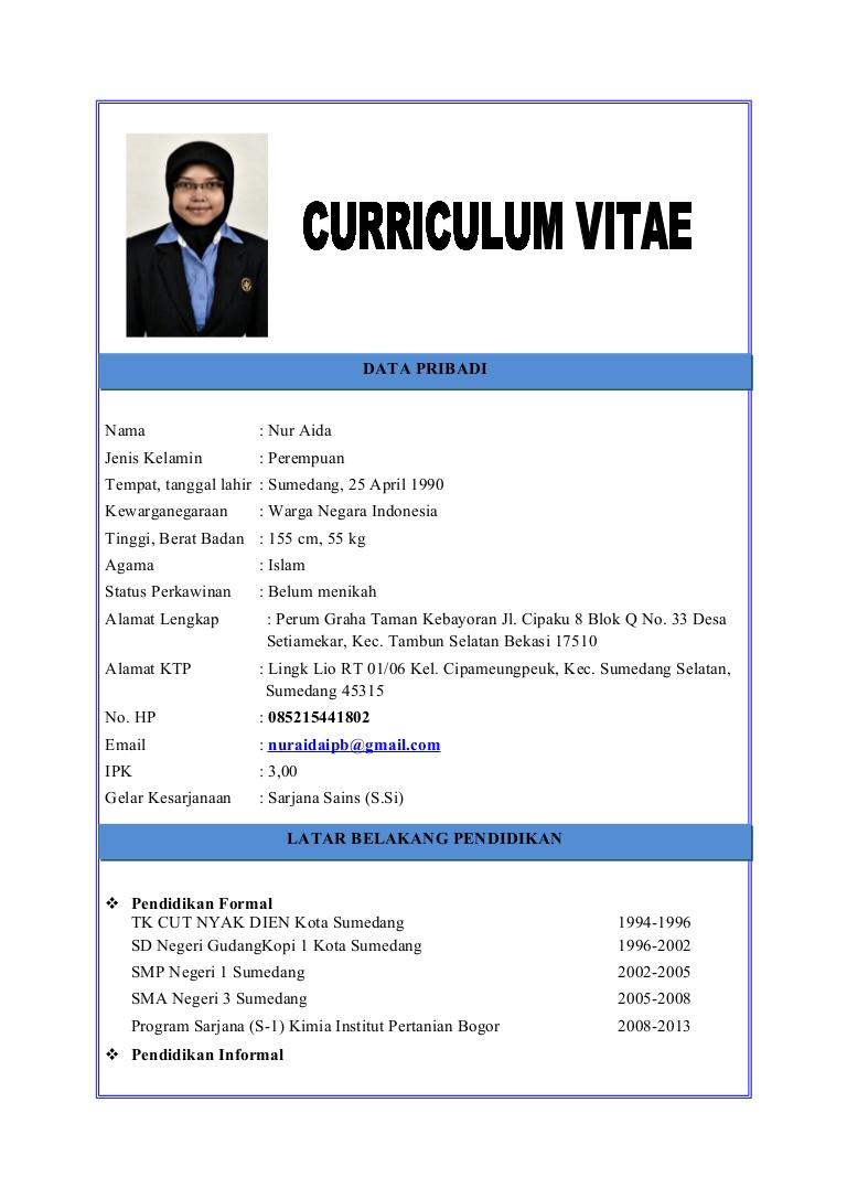 Contoh Curriculum Vitae Fresh Graduate Dalam Bahasa Inggris