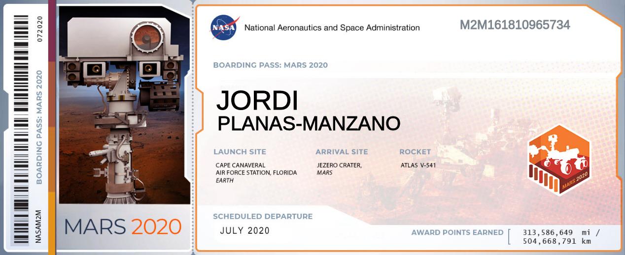 Tarjeta d'embarc cap a Mart el 2020 de la NASA