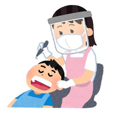 フェイスシールドを付けた歯科医のイラスト(女性)