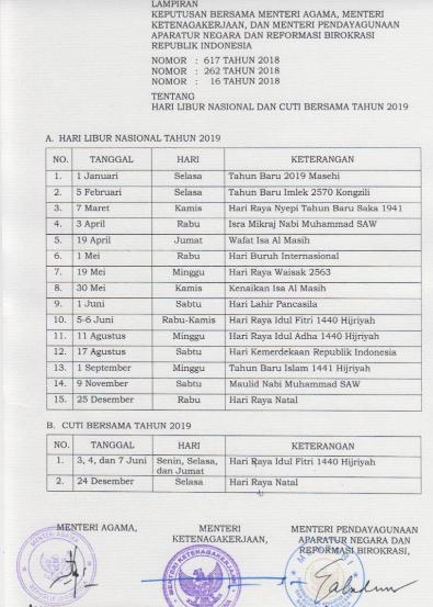 Libur Nasional 2019