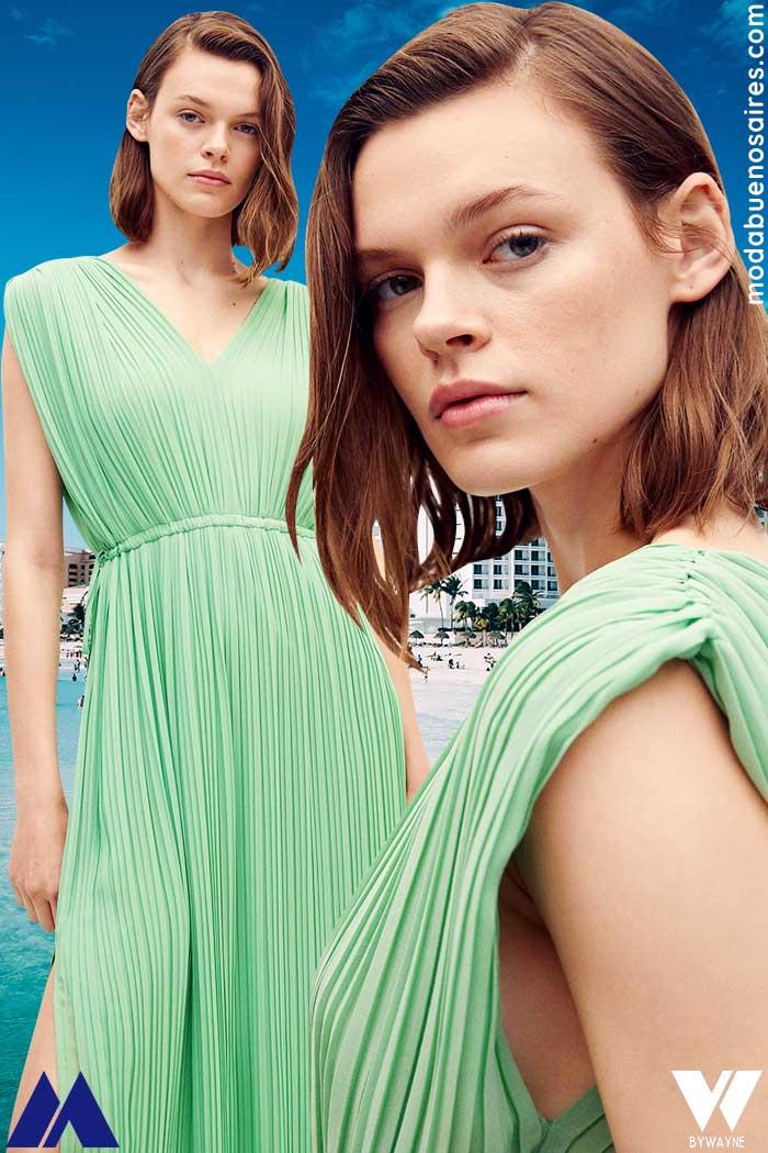 vestidos plisados largos verano 2022 moda mujer