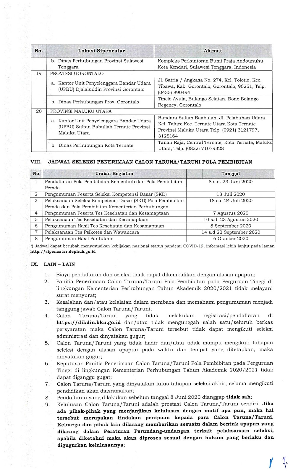 Penerimaan Calon Taruna/Taruni Pola Pembibitan Pada Perguruan Tinggi Di Lingkungan Kementerian Perhubungan Tahun Akademik 2020/2021