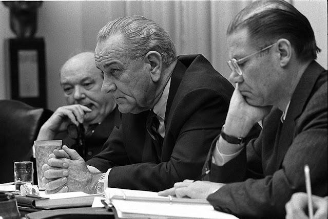 Dean Rusk, Lyndon B. Johnson and Robert McNamara