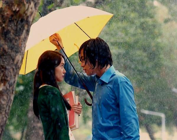 Couple in rain