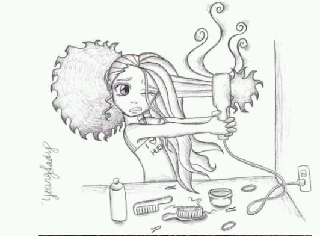 natural hair shrinkage being blow dried and flat ironed