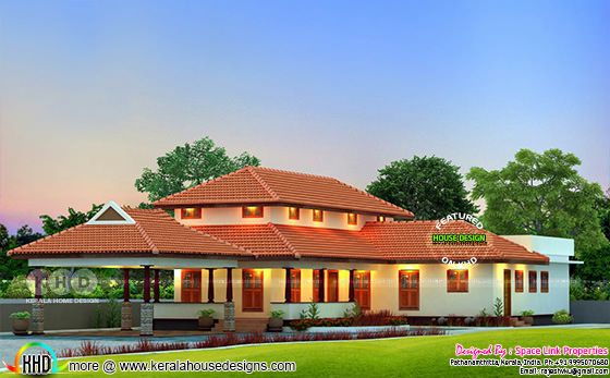 Traditional read roof Kerala home