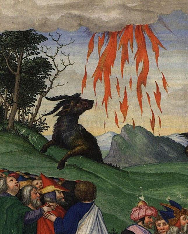 Fará descer fogo do céu, para parecer que é o senhor da natureza. Ottheinrich-Bibel, Bayerische Staatsbibliothek, Cgm 8010, Folio296r_Rev13