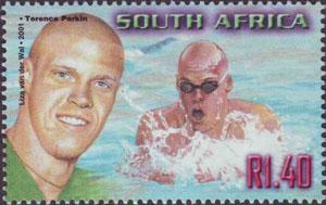 Sello lanzado en 2001 por el servicio postal de Sudáfrica y dedicado al nadador sordo Terence Parkin