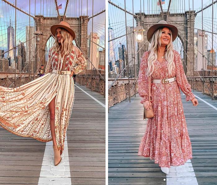 NYFW floral dress with white gucci belt on brooklyn bridge