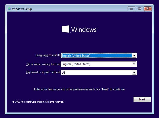 windows setup language time keyboard