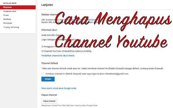 cara menghapus saluran youtube