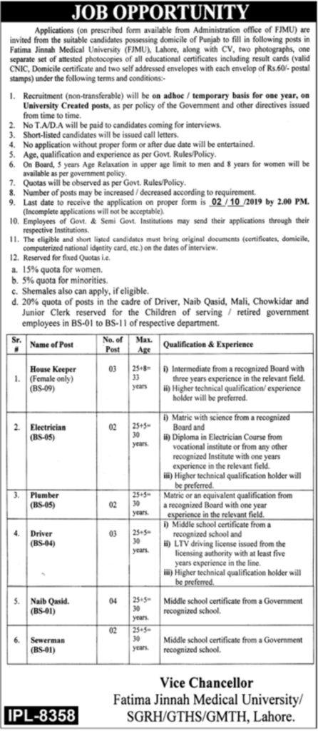 Fatima Jinnah Medical University Jobs in Lahore