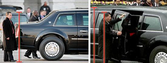Comparação de tamanho da limusine do Presidente dos EUA