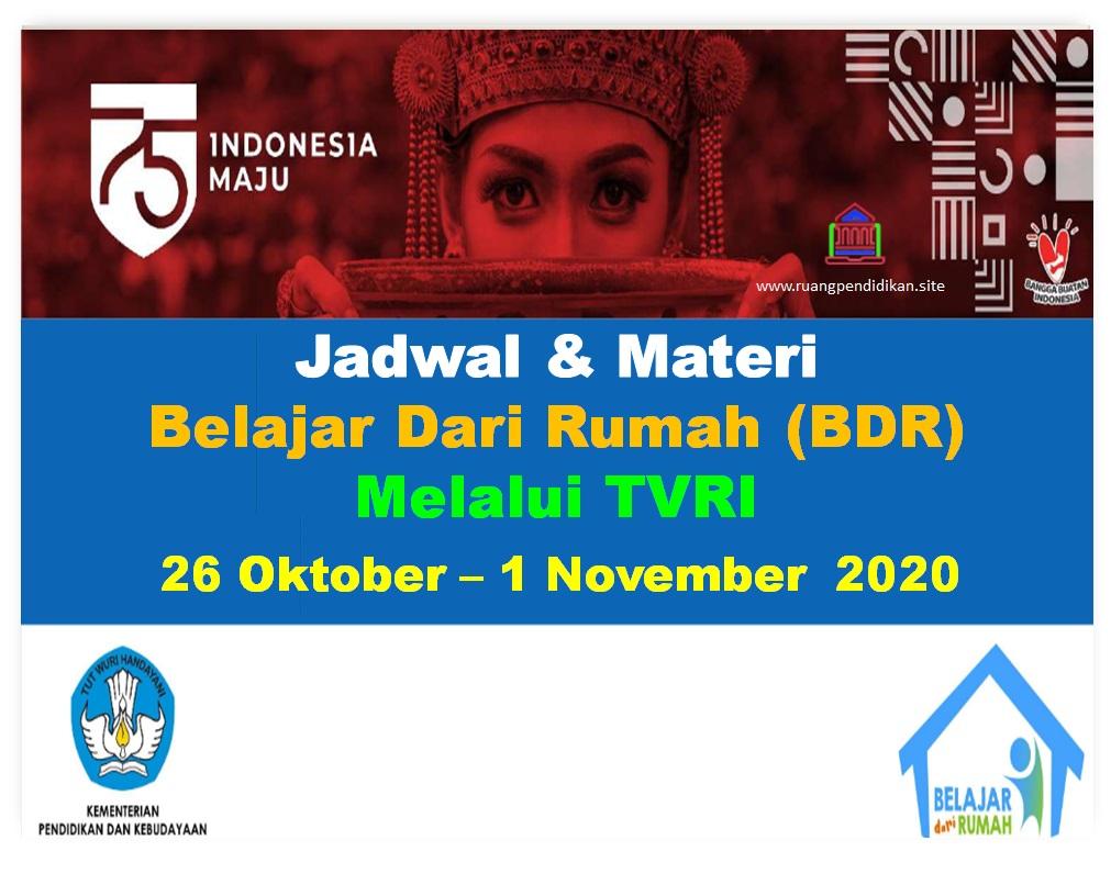 Jadwal Dan Materi BDR Di TVRI Tanggal 26-30 oktober 2020