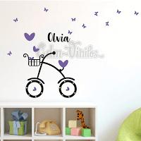 vinilo decorativo infantil pared bicicleta corazones mariposas triangulos