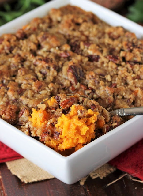 Southern Sweet Potato Casserole in Baking Dish Image